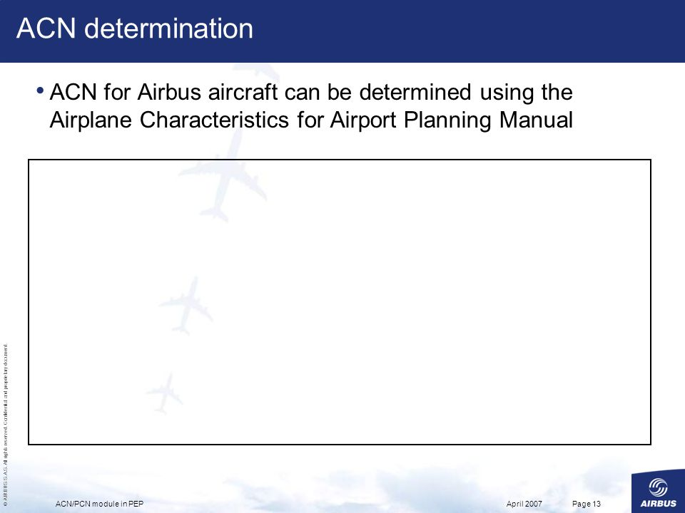 ACN determination ACN for Airbus aircraft can be determined using the Airplane Characteristics for Airport Planning Manual.