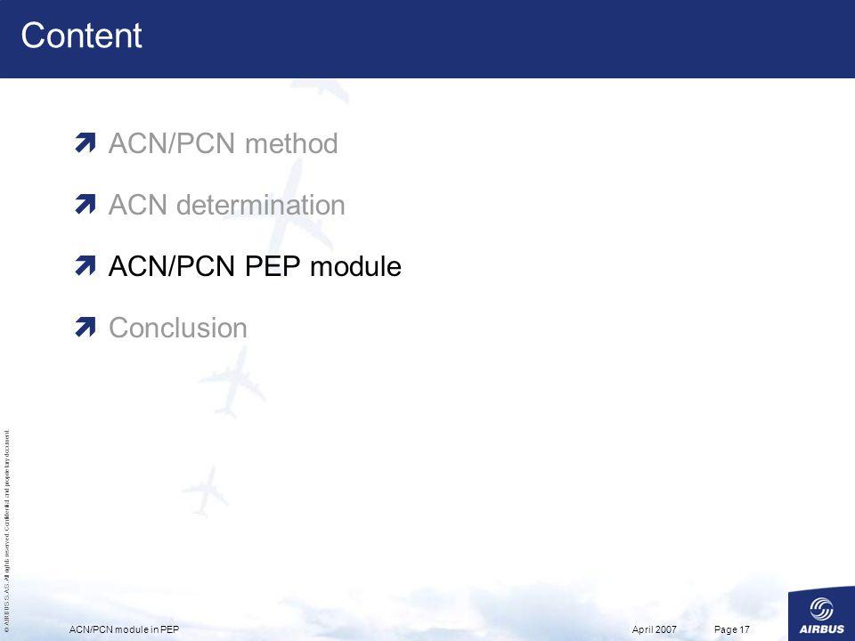 Content ACN/PCN method ACN determination ACN/PCN PEP module Conclusion