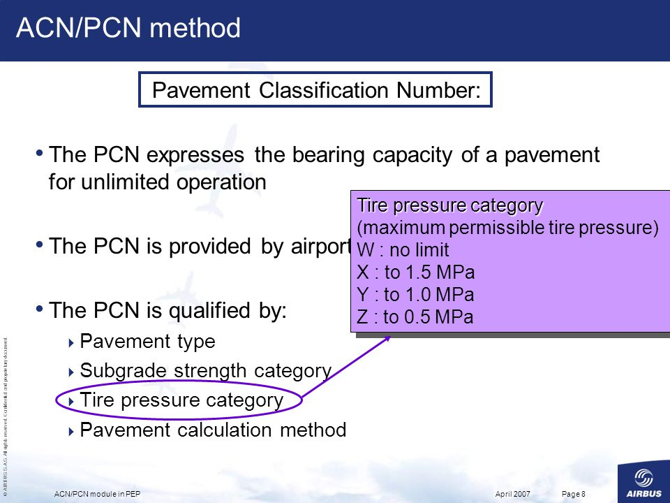 ACN/PCN method Pavement Classification Number: