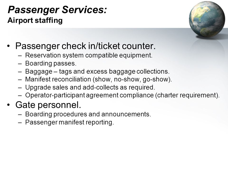 Passenger Services: Airport staffing