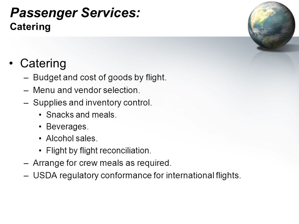 Passenger Services: Catering