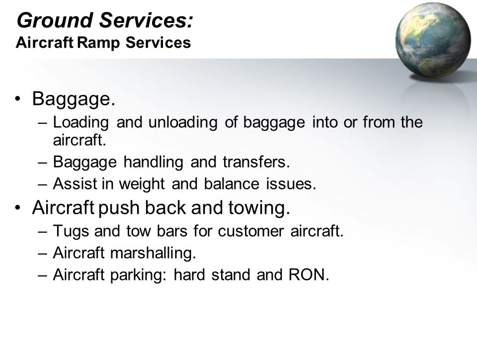 Ground Services: Aircraft Ramp Services