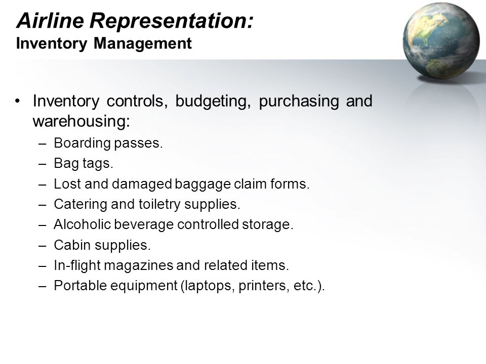 Airline Representation: Inventory Management