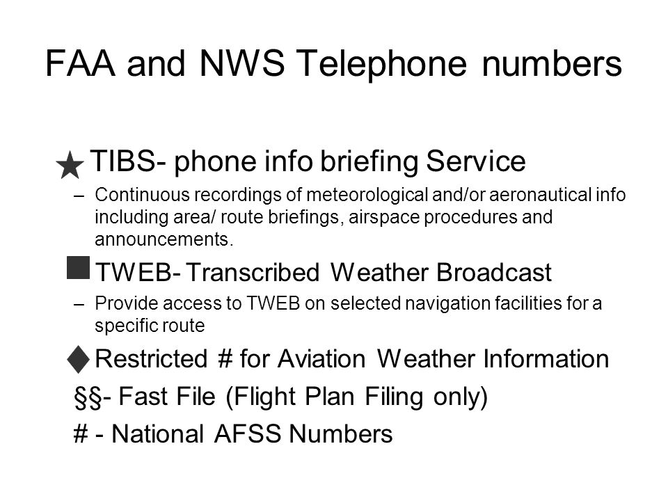 FAA and NWS Telephone numbers