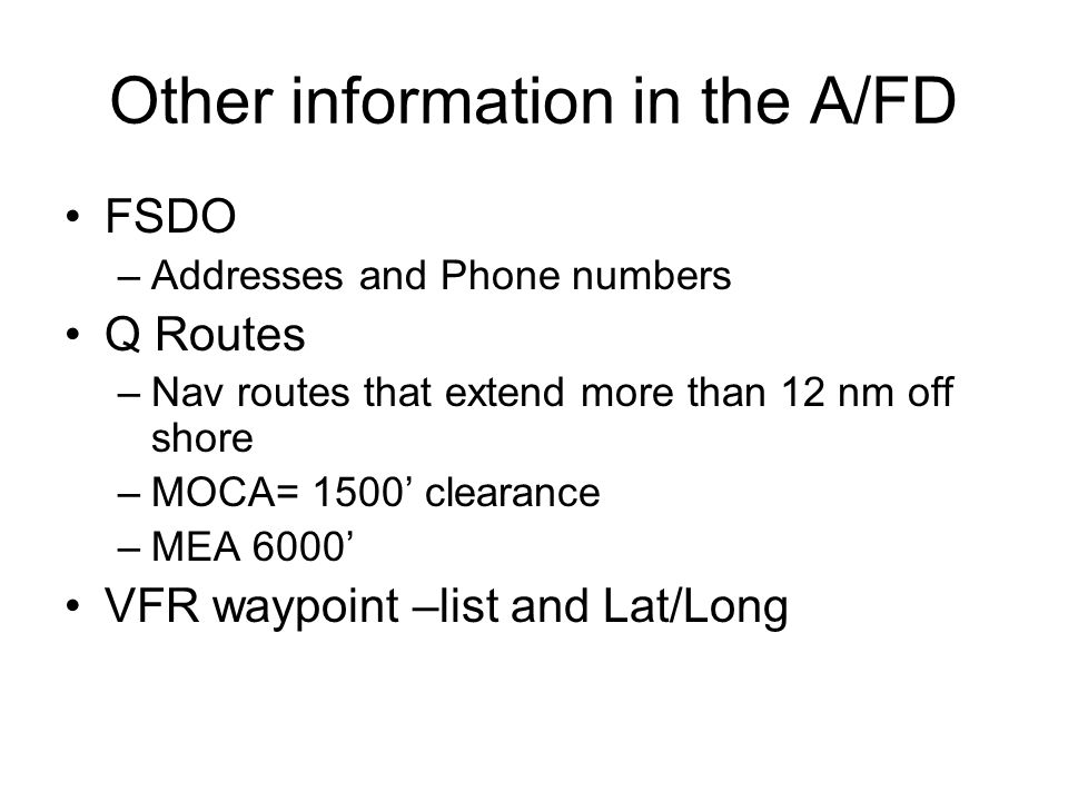 Other information in the A/FD