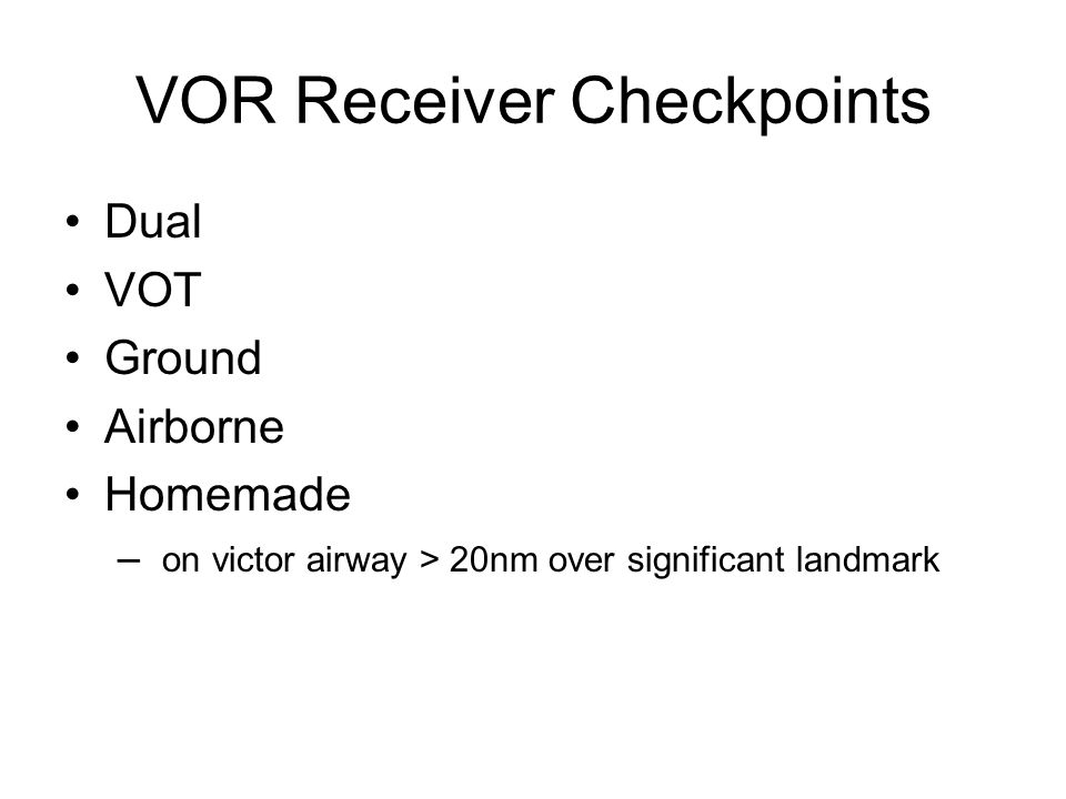 VOR Receiver Checkpoints