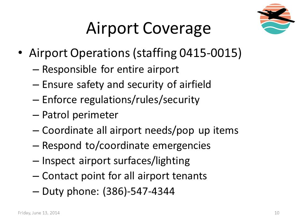Airport Coverage Airport Operations (staffing )