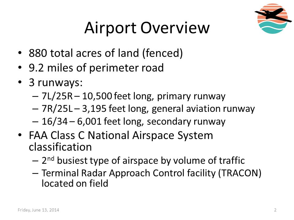 Airport Overview 880 total acres of land (fenced)