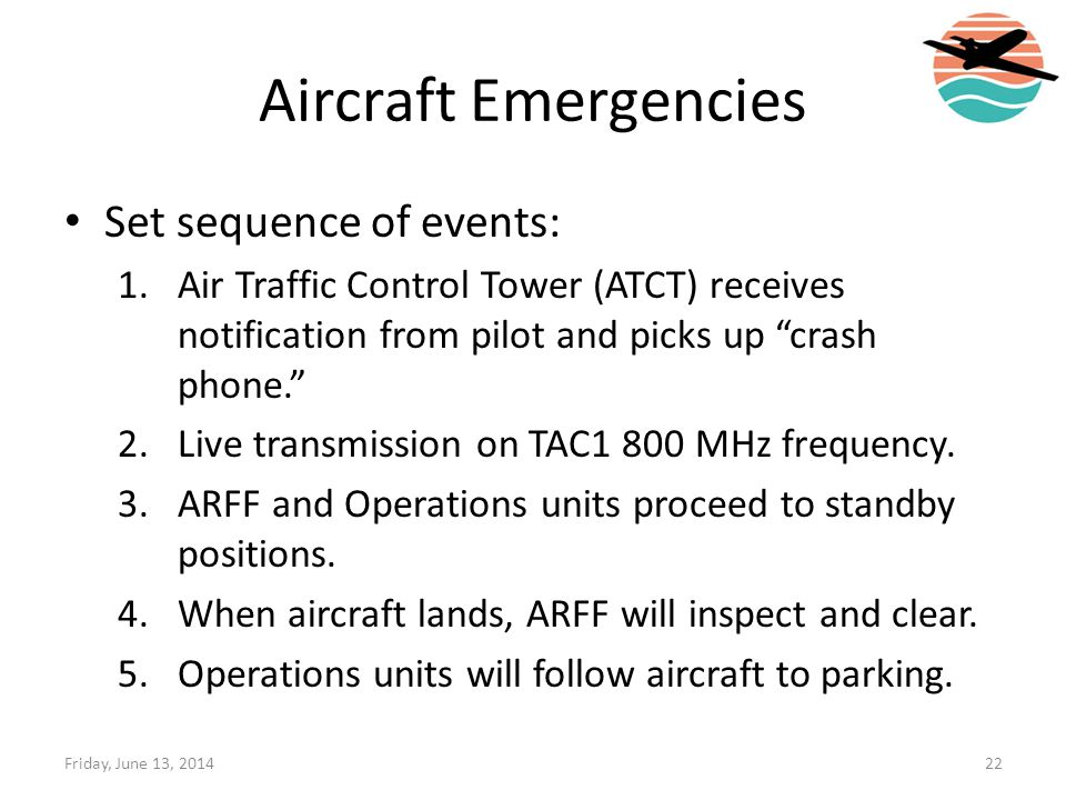 Aircraft Emergencies Set sequence of events:
