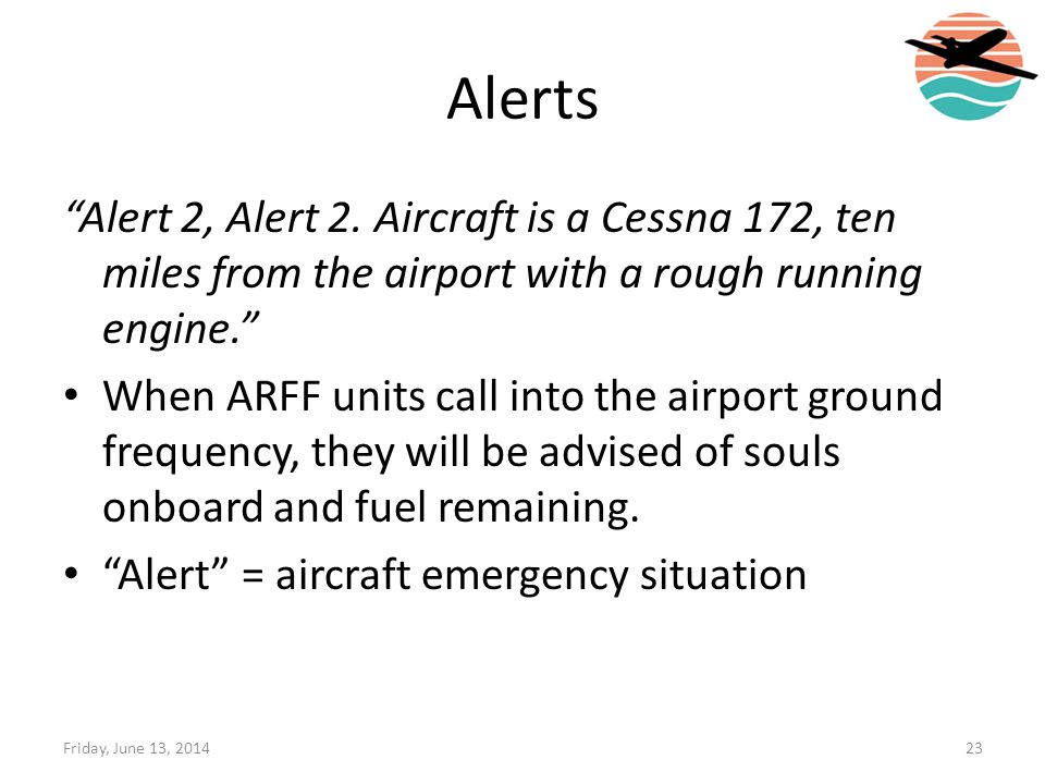 Alerts Alert 2, Alert 2. Aircraft is a Cessna 172, ten miles from the airport with a rough running engine.