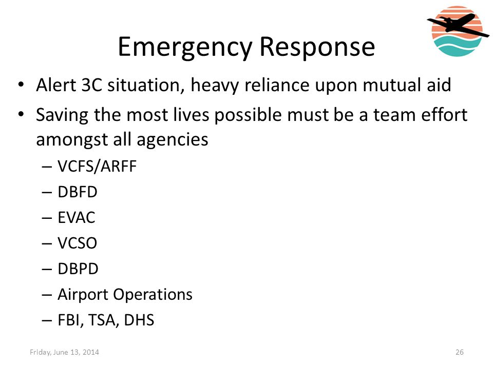 Emergency Response Alert 3C situation, heavy reliance upon mutual aid