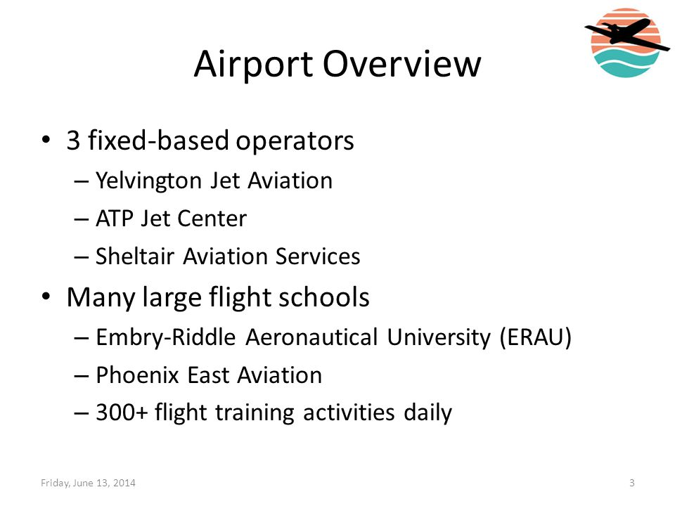 Airport Overview 3 fixed-based operators Many large flight schools