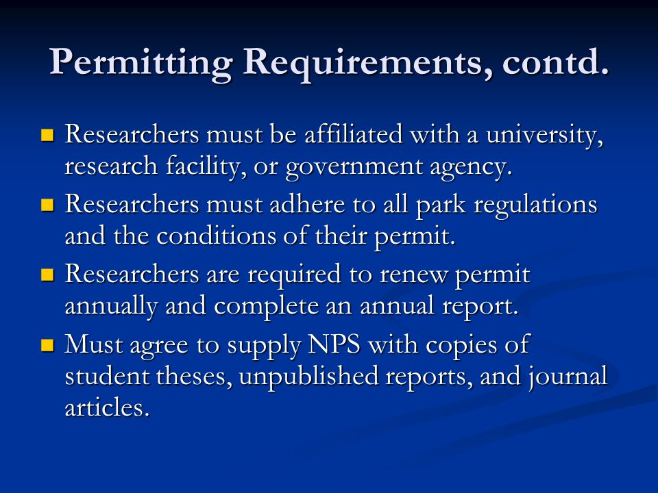 Permitting Requirements, contd.