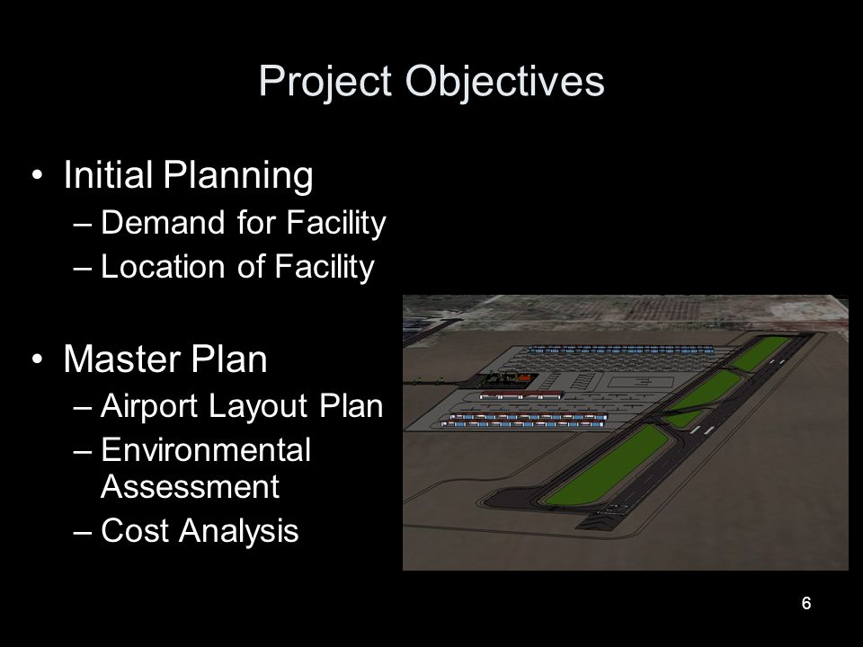 Project Objectives Initial Planning Master Plan Demand for Facility