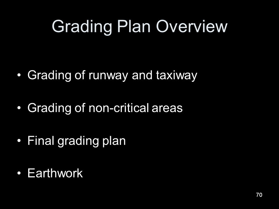 Grading Plan Overview Grading of runway and taxiway
