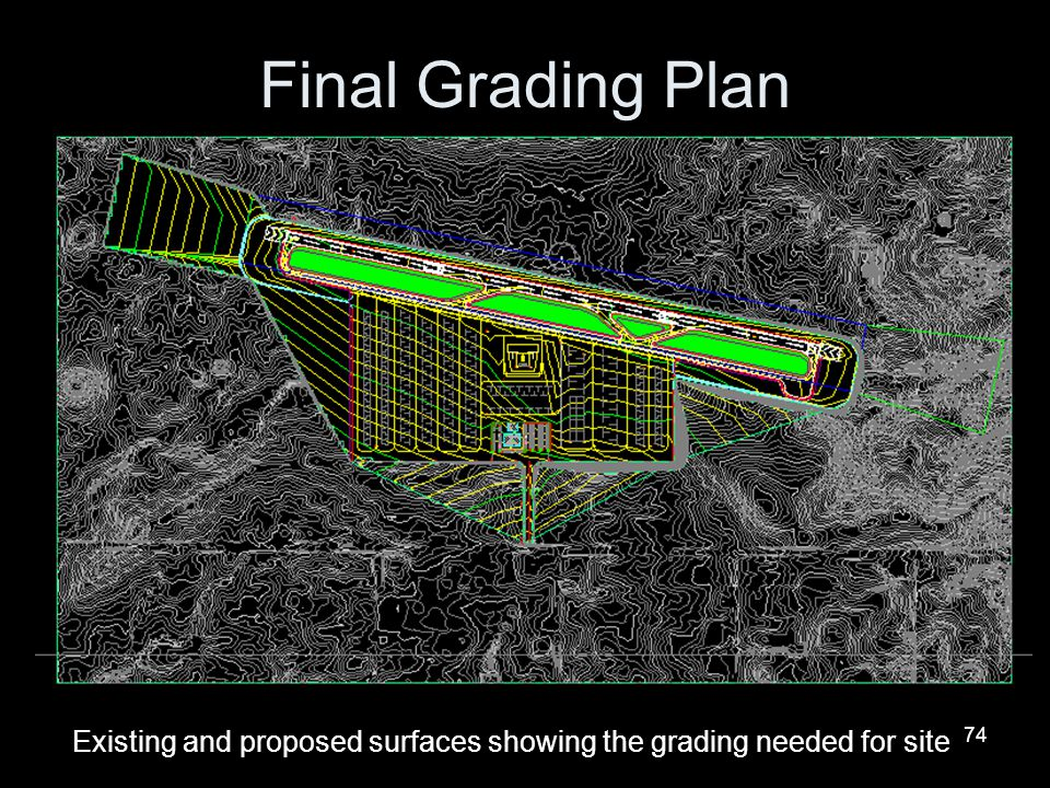 Final Grading Plan Existing and proposed surfaces showing the grading needed for site