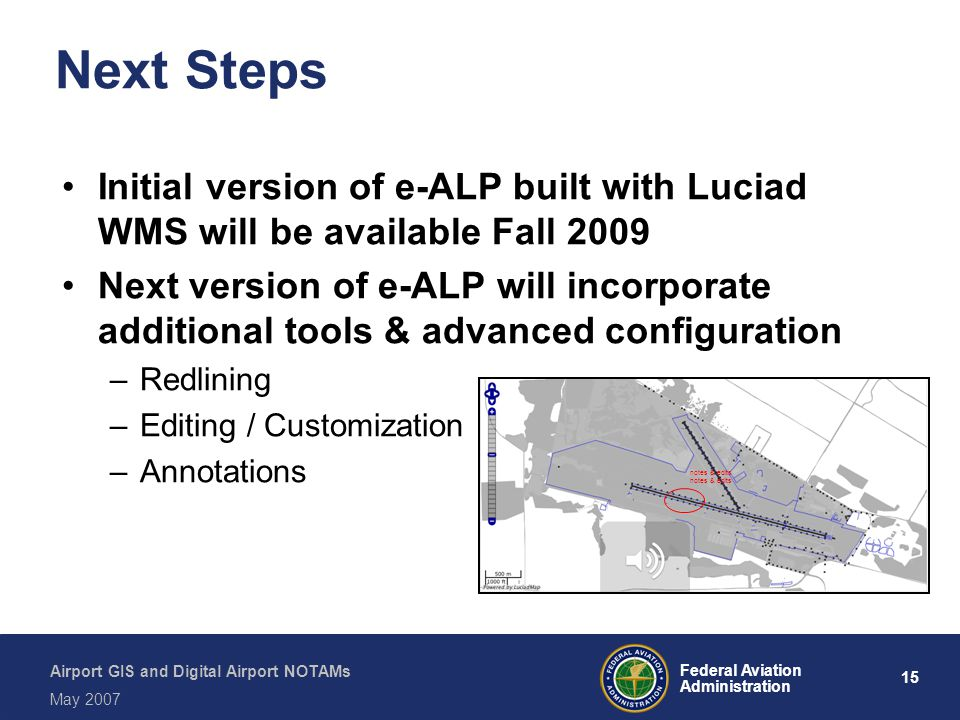 Next Steps Initial version of e-ALP built with Luciad WMS will be available Fall 2009.