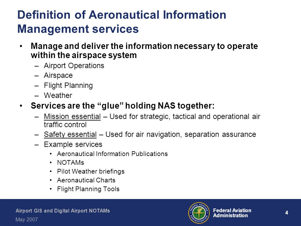 Definition of Aeronautical Information Management services