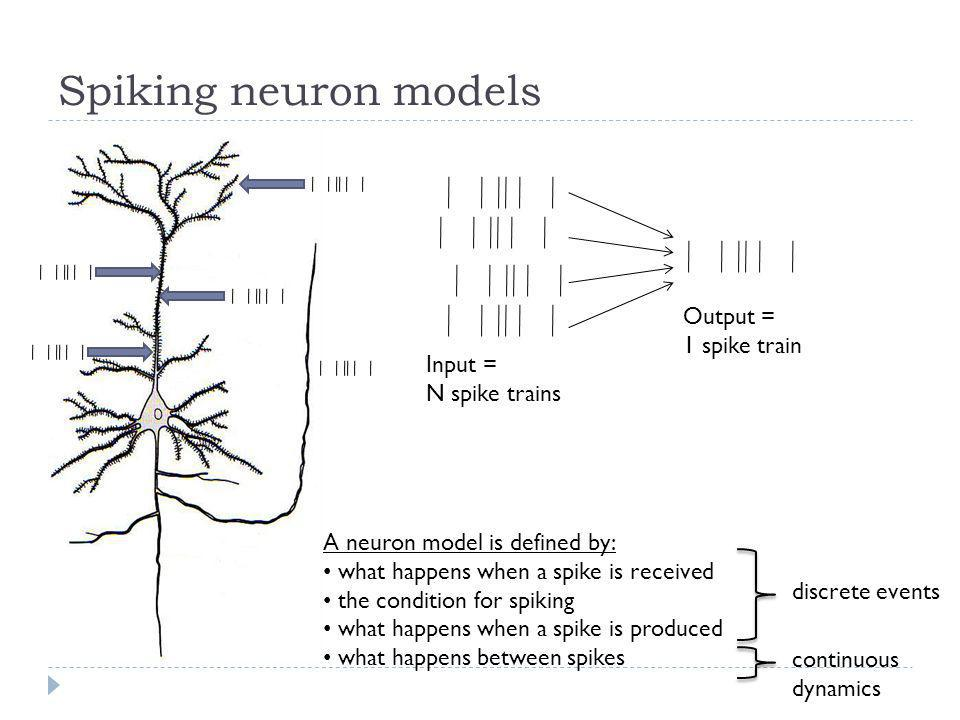 Spiking neuron models Output = 1 spike train Input = N spike trains