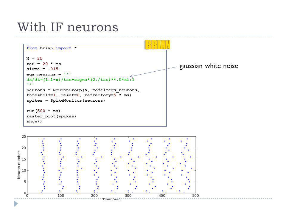 With IF neurons gaussian white noise from brian import * N = 25
