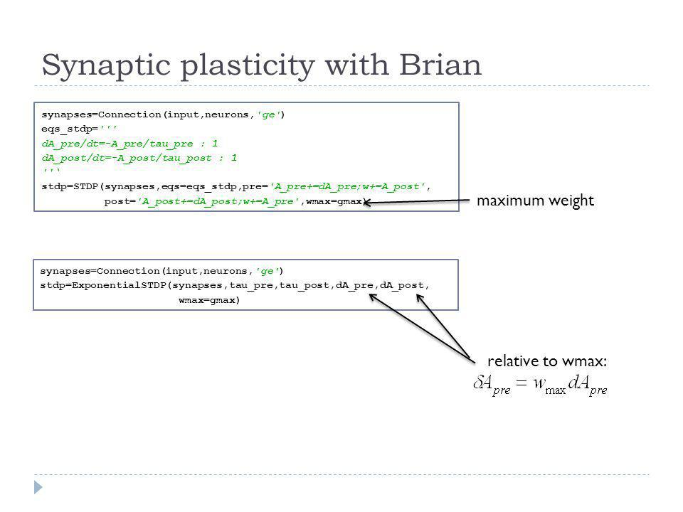 Synaptic plasticity with Brian