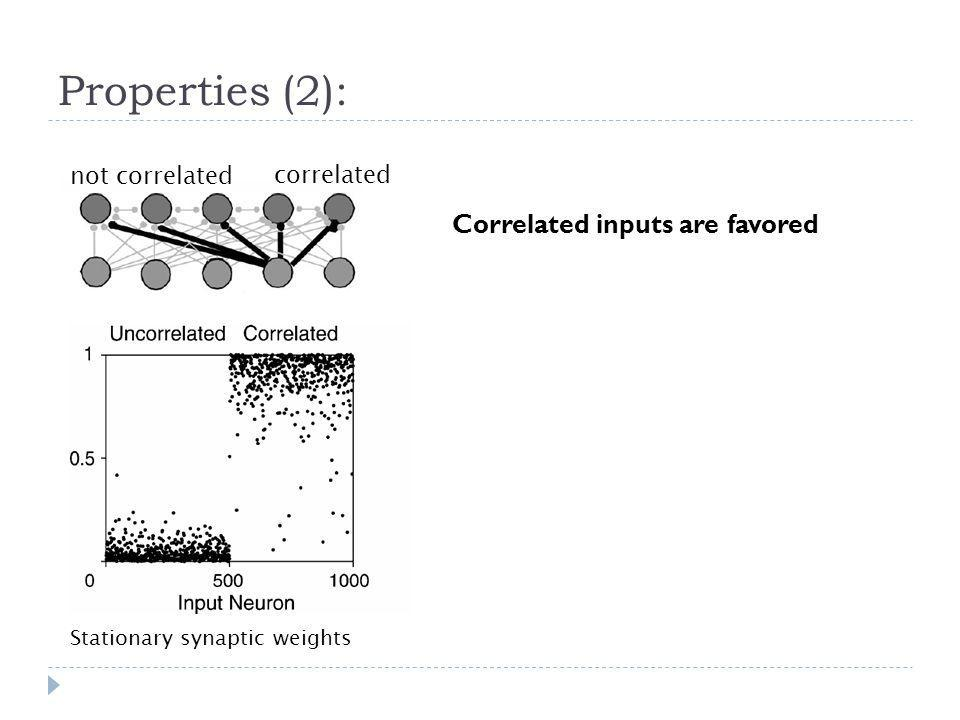 Properties (2): Correlated inputs are favored not correlated
