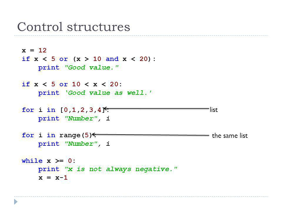 Control structures x = 12 if x < 5 or (x > 10 and x < 20):