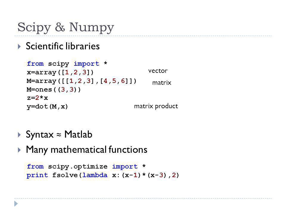 Scipy & Numpy Scientific libraries Syntax ≈ Matlab