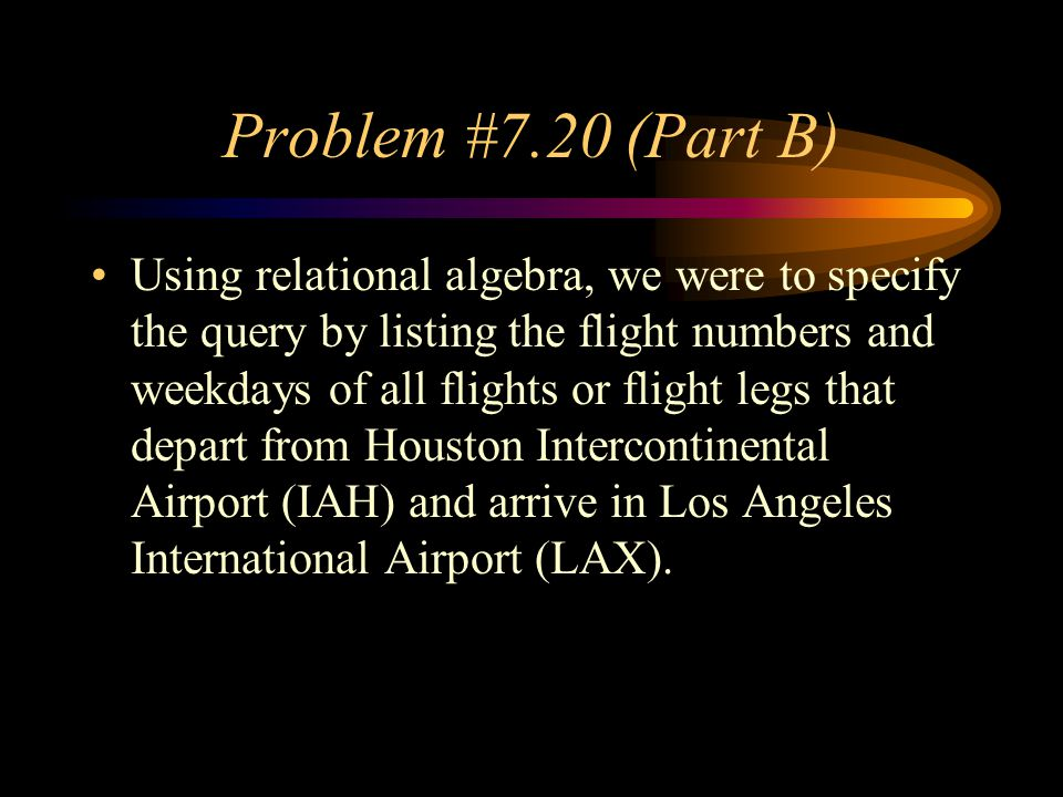Problem #7.20 (Part B)