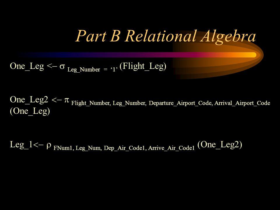 Part B Relational Algebra