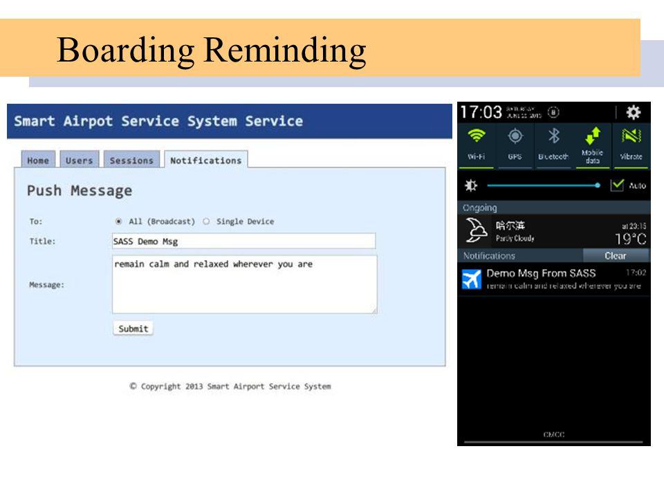 Boarding Reminding
