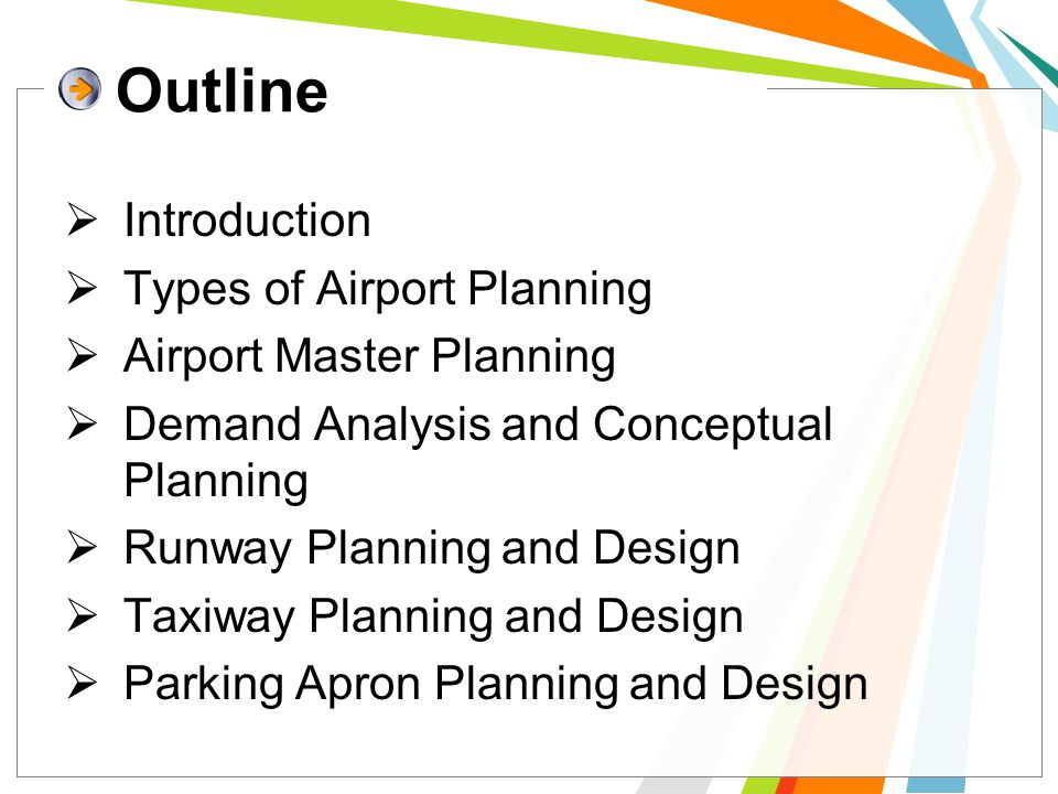 Outline Introduction Types of Airport Planning Airport Master Planning