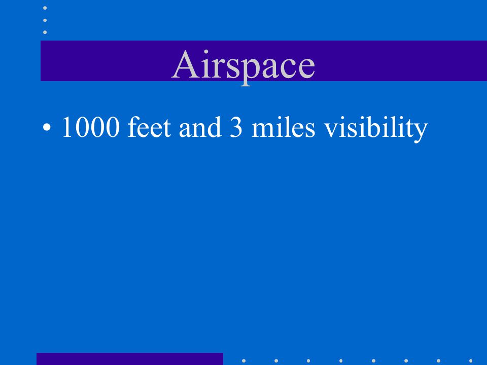 Airspace 1000 feet and 3 miles visibility