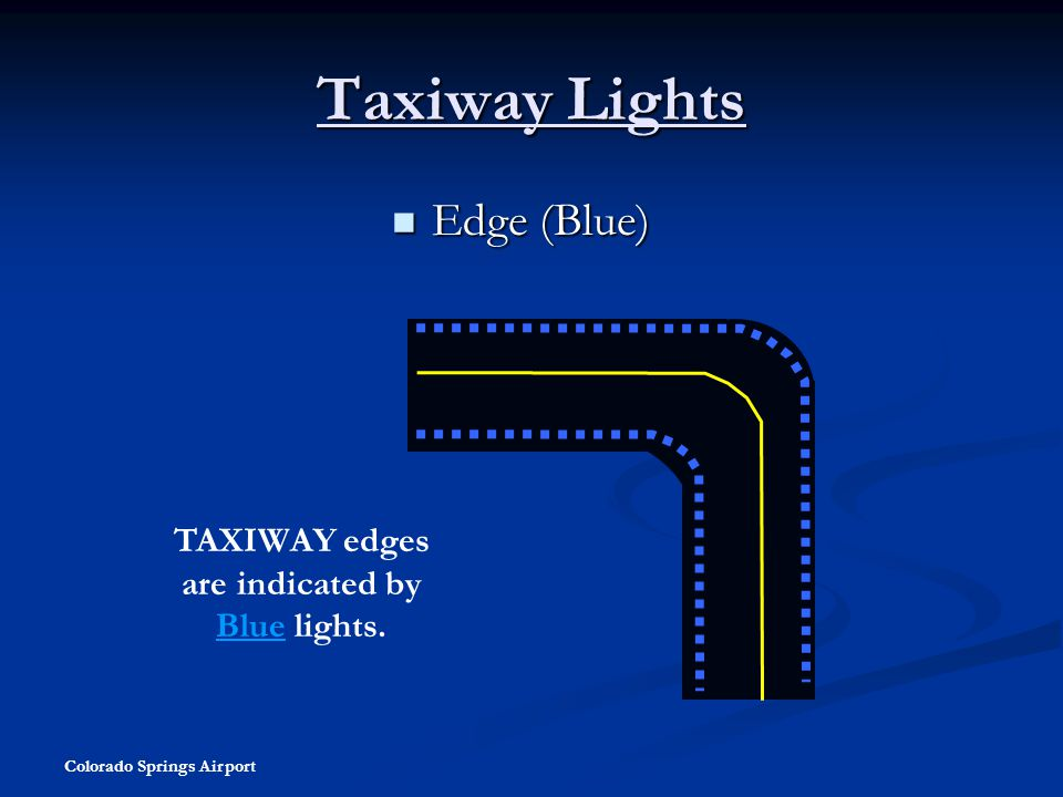 TAXIWAY edges are indicated by Blue lights.