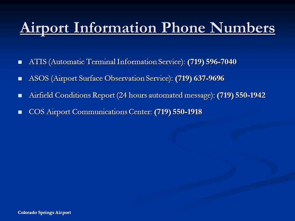 Airport Information Phone Numbers