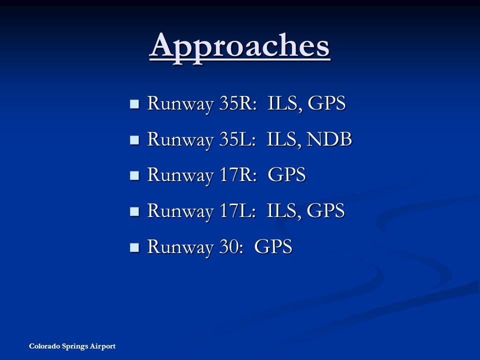 Approaches Runway 35R: ILS, GPS Runway 35L: ILS, NDB Runway 17R: GPS