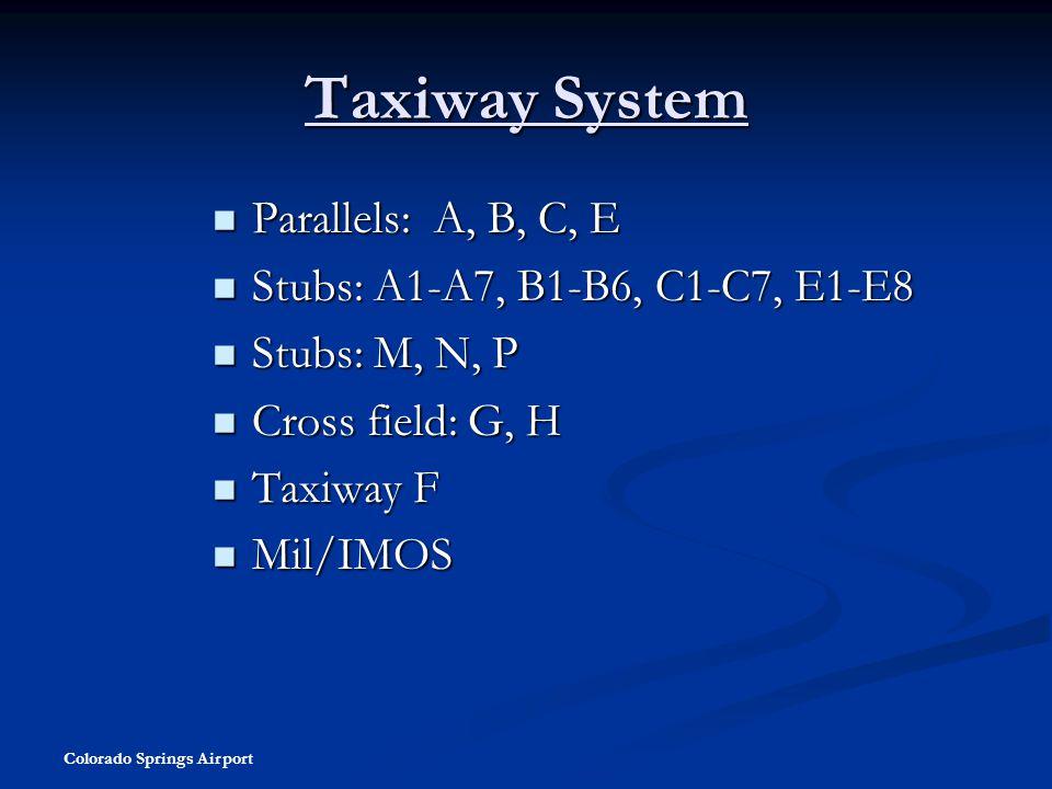 Taxiway System Parallels: A, B, C, E Stubs: A1-A7, B1-B6, C1-C7, E1-E8