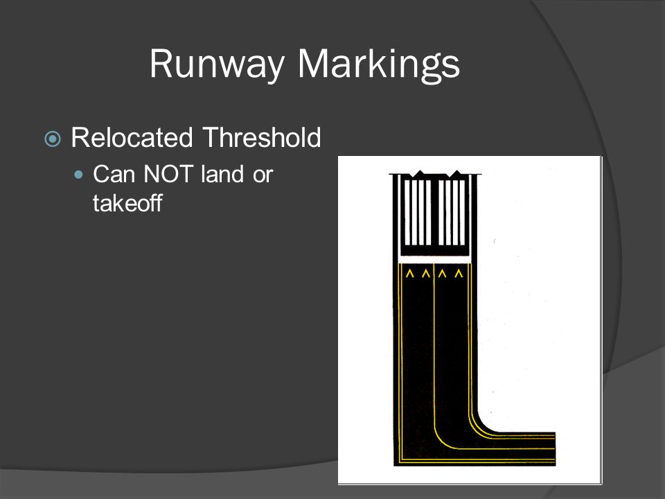 Runway Markings Relocated Threshold Can NOT land or takeoff