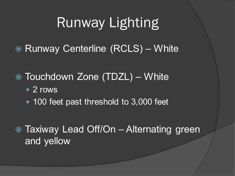 Runway Lighting Runway Centerline (RCLS) – White