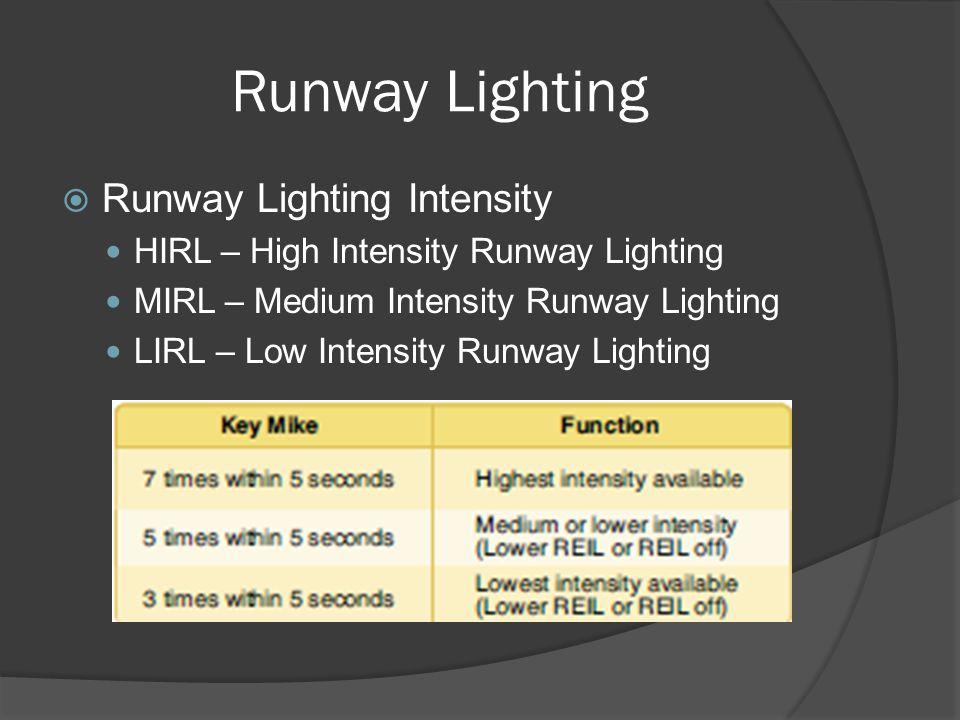 Runway Lighting Runway Lighting Intensity