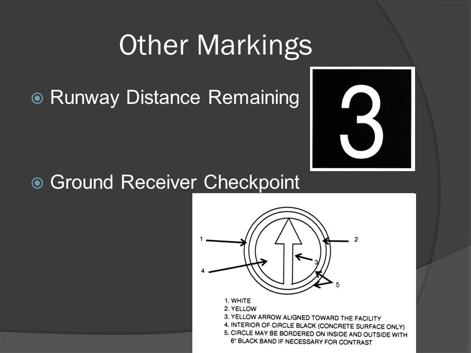 Other Markings Runway Distance Remaining Ground Receiver Checkpoint
