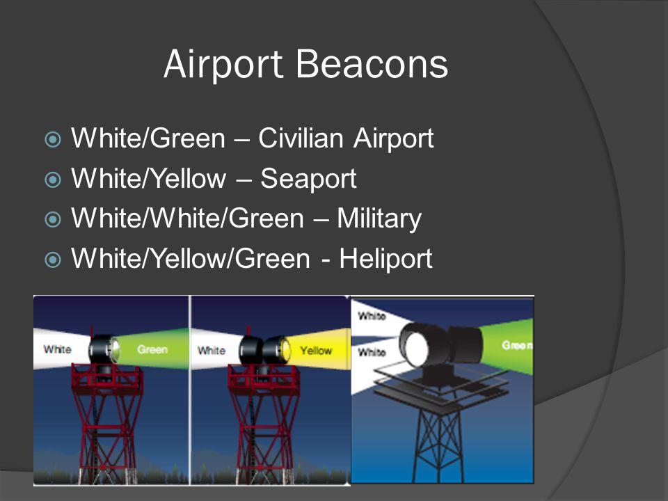 Airport Beacons White/Green – Civilian Airport White/Yellow – Seaport
