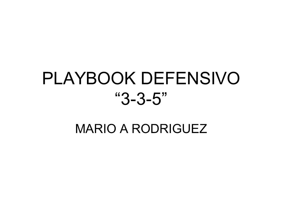 PLAYBOOK DEFENSIVO 3-3-5