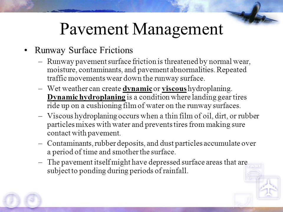 Pavement Management Runway Surface Frictions