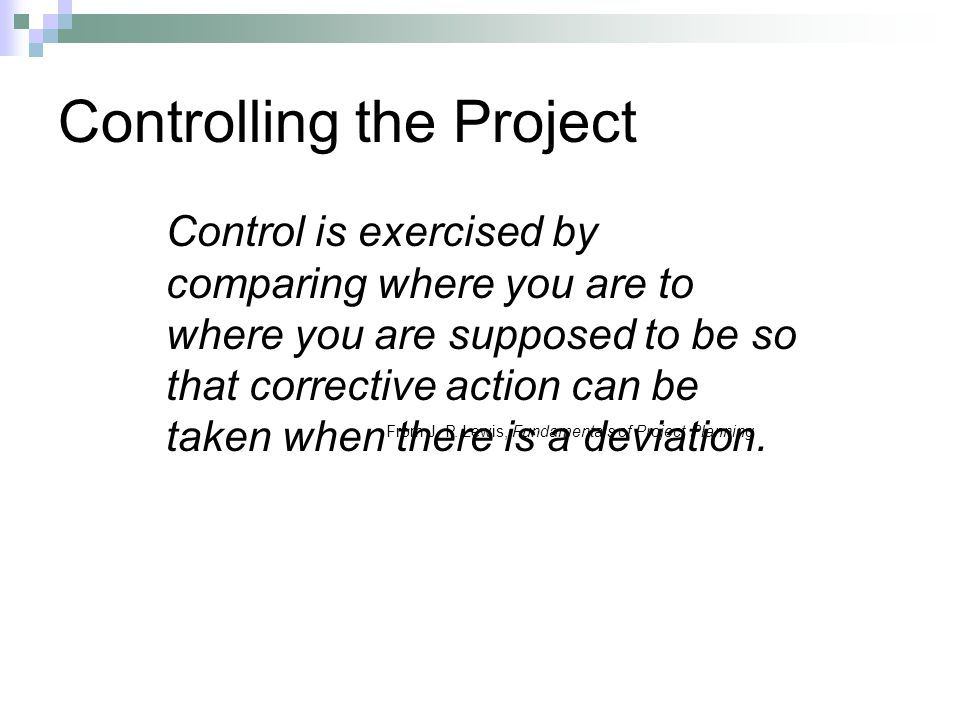 Controlling the Project