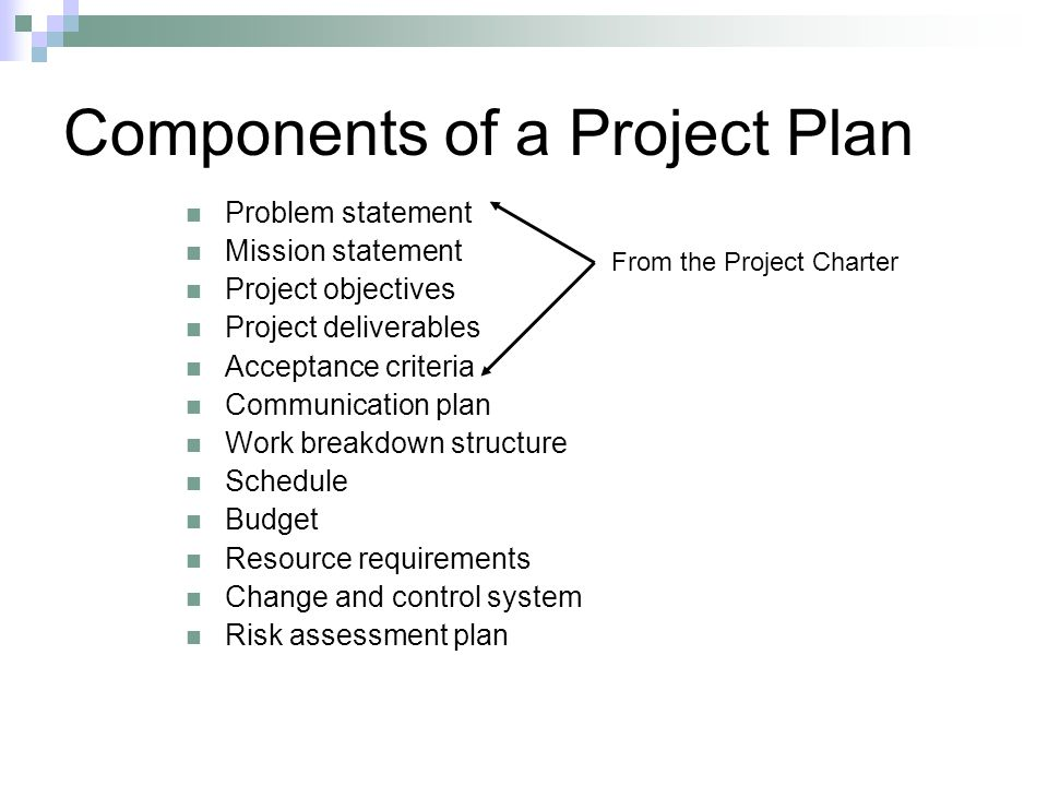 Components of a Project Plan