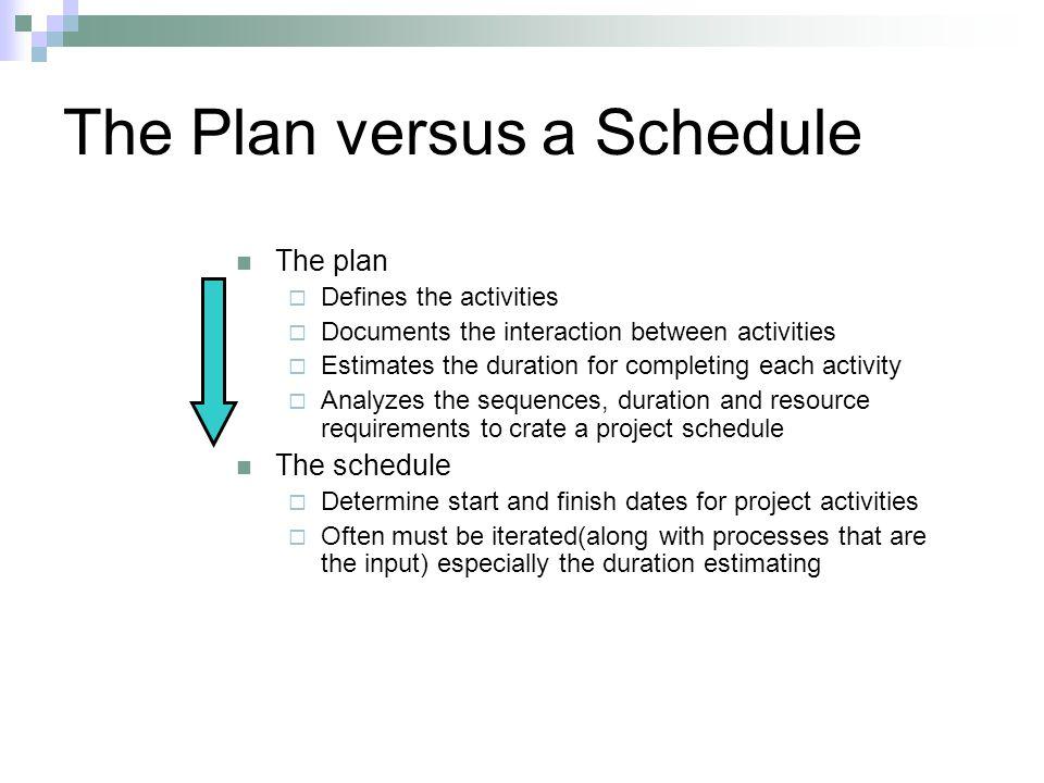 The Plan versus a Schedule