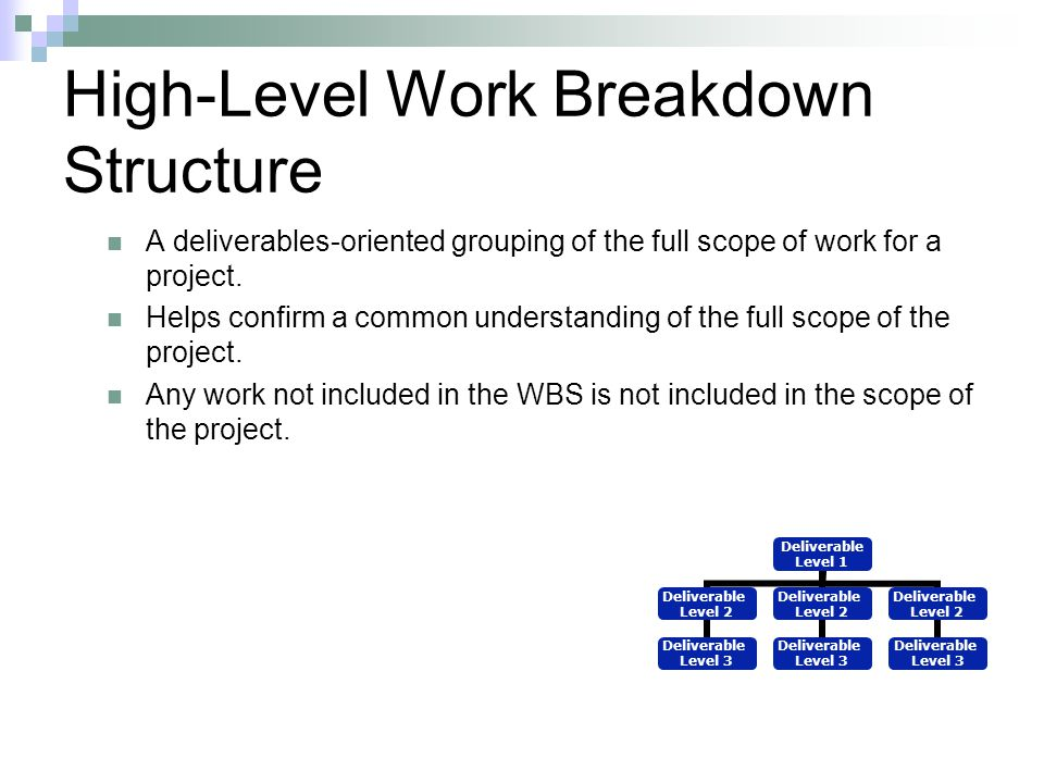 High-Level Work Breakdown Structure
