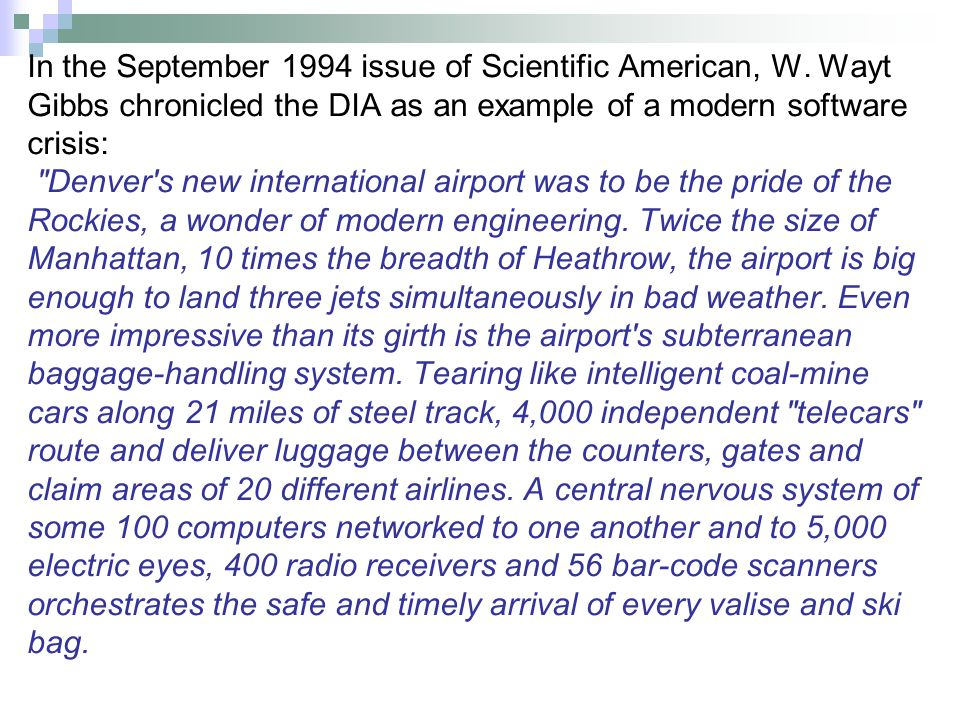 In the September 1994 issue of Scientific American, W