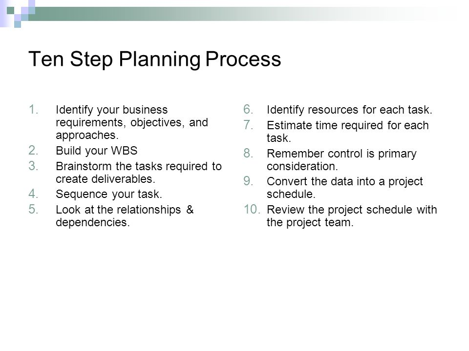 Ten Step Planning Process